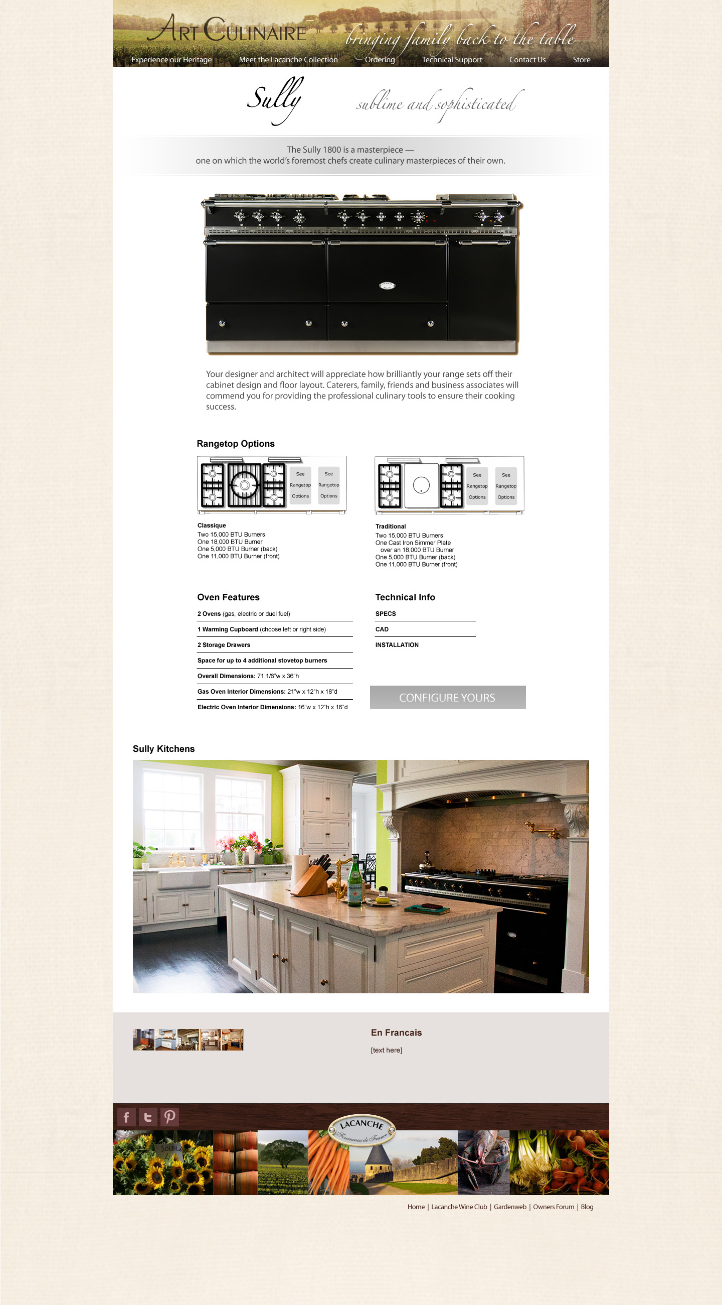 Art Culinaire Website Design and Layout