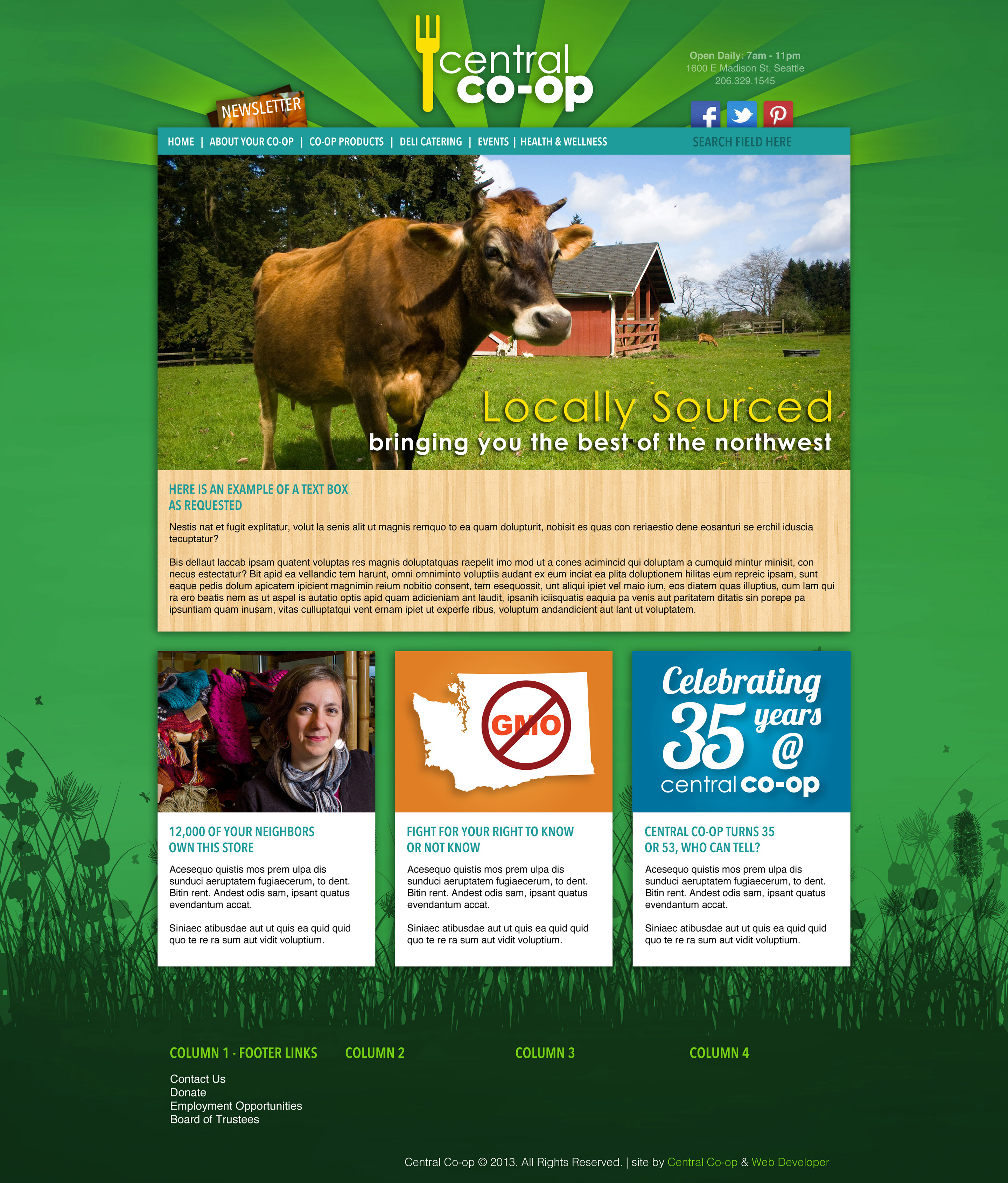 Central Co-op Website Design and Layout