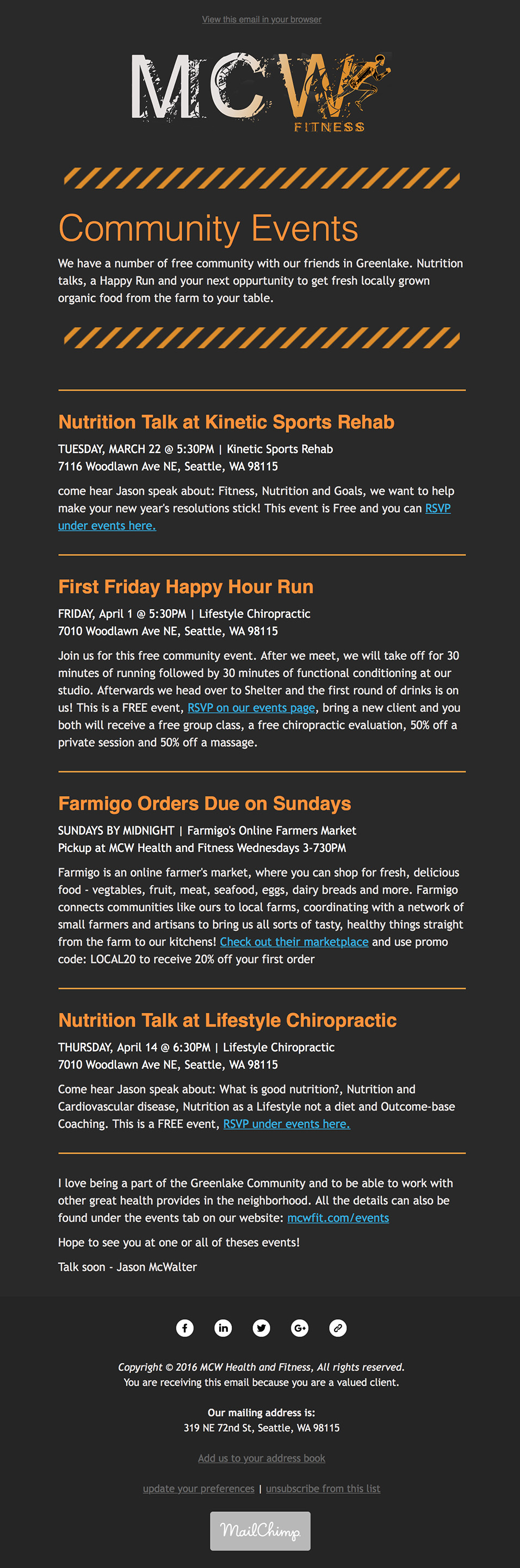 MCW Fitness eNewsletter