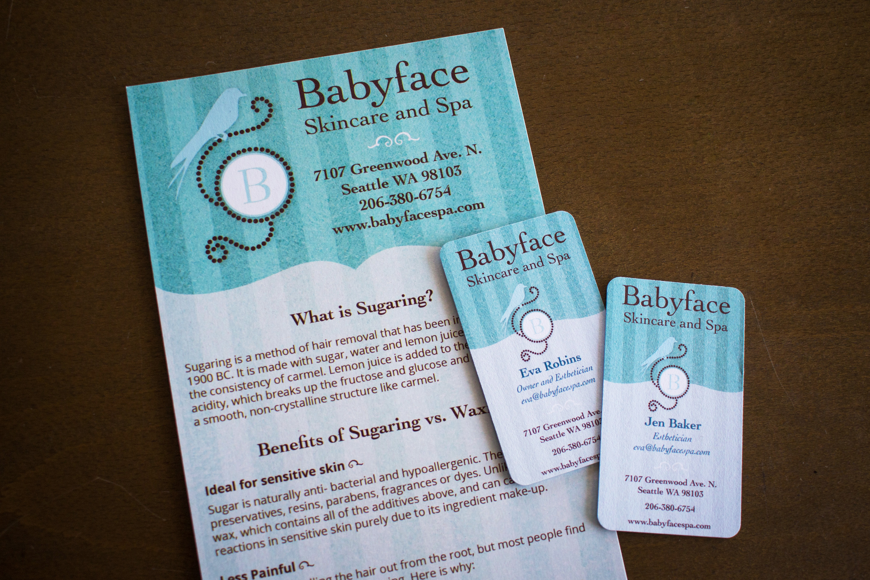 Babyface Skincare Menu and Business Cards