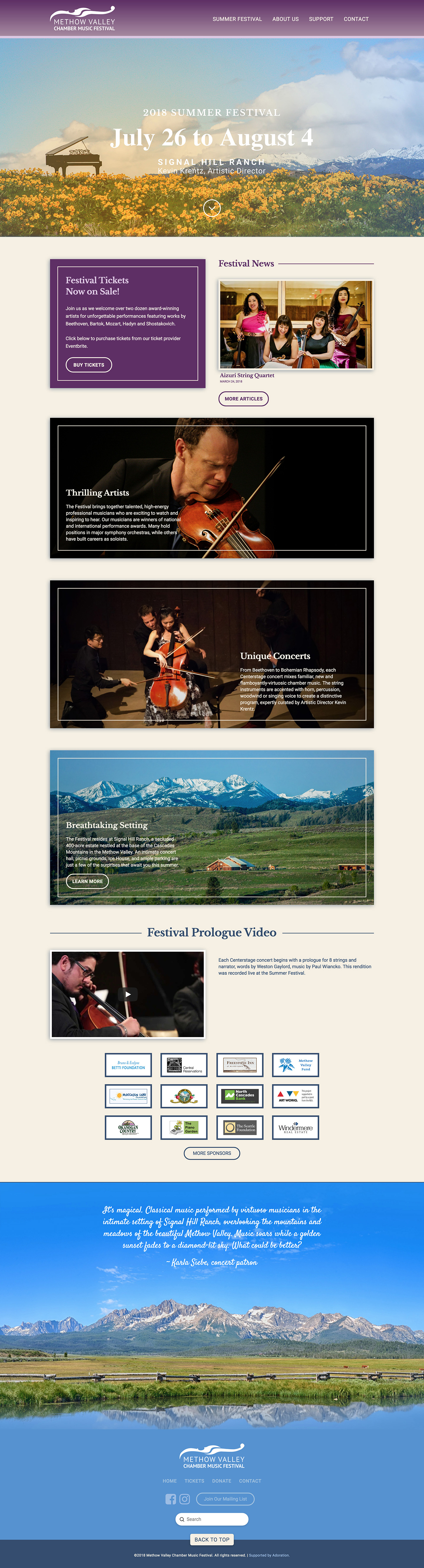 Methow Valley Chamber Music Festival Website
