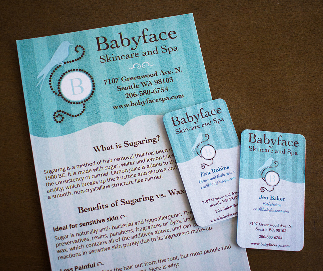 Babyface Skincare and Spa Brochure and Business Cards