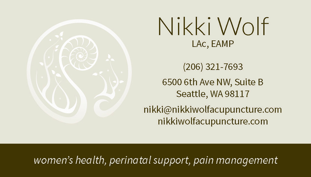 Nikki Wolf Acupuncture Business Card Front